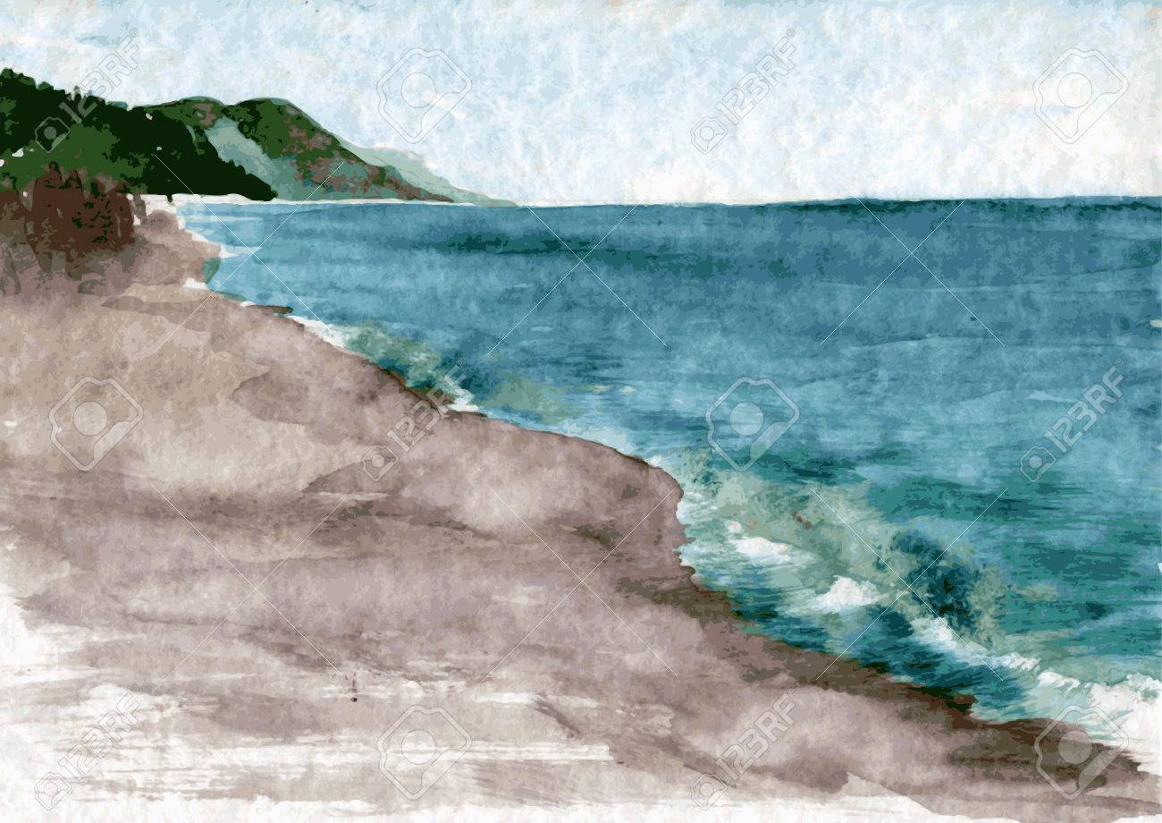 Watercolor Drawing Landscape With Sea Waves The Beach And Green Hills Hand Drawn