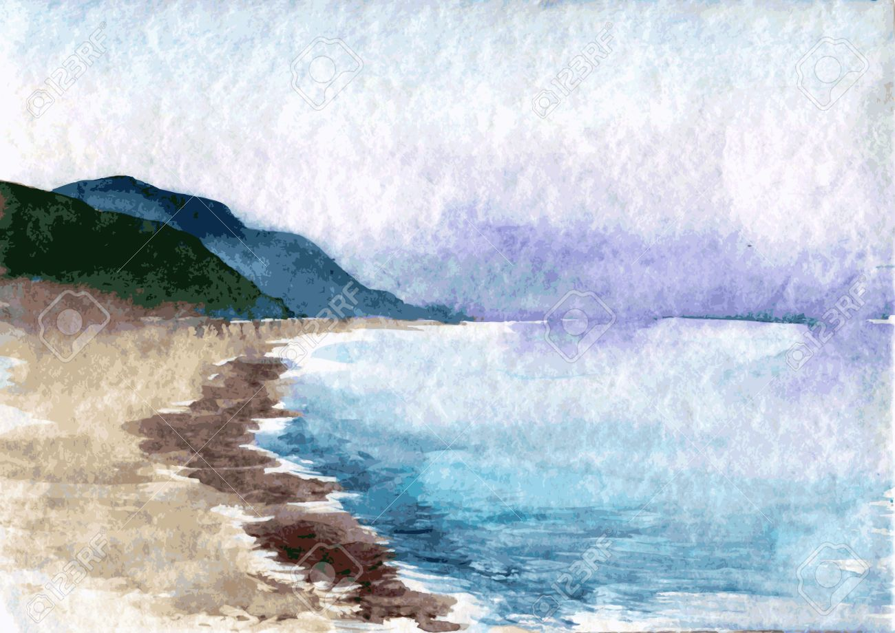 Watercolor Drawing Evening Landscape With Sea Waves The Beach And Green Hills In