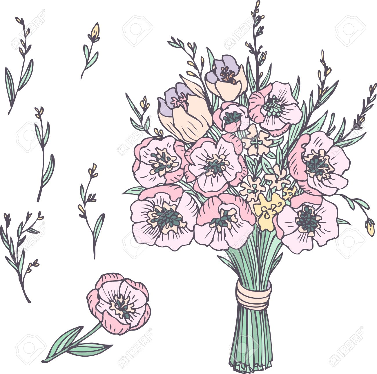 Linear Drawing Bouquet Of Flowers, Hand Drawn Vector Illustration ...