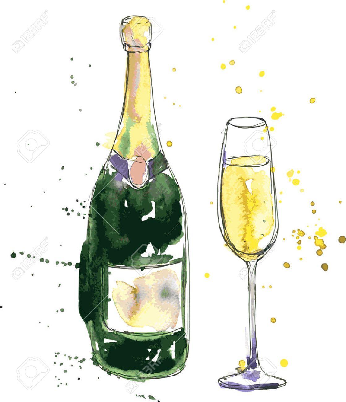 Bouteille De Champagne Dessin bouteille de champagne et de verre, dessin de l'aquarelle et de l