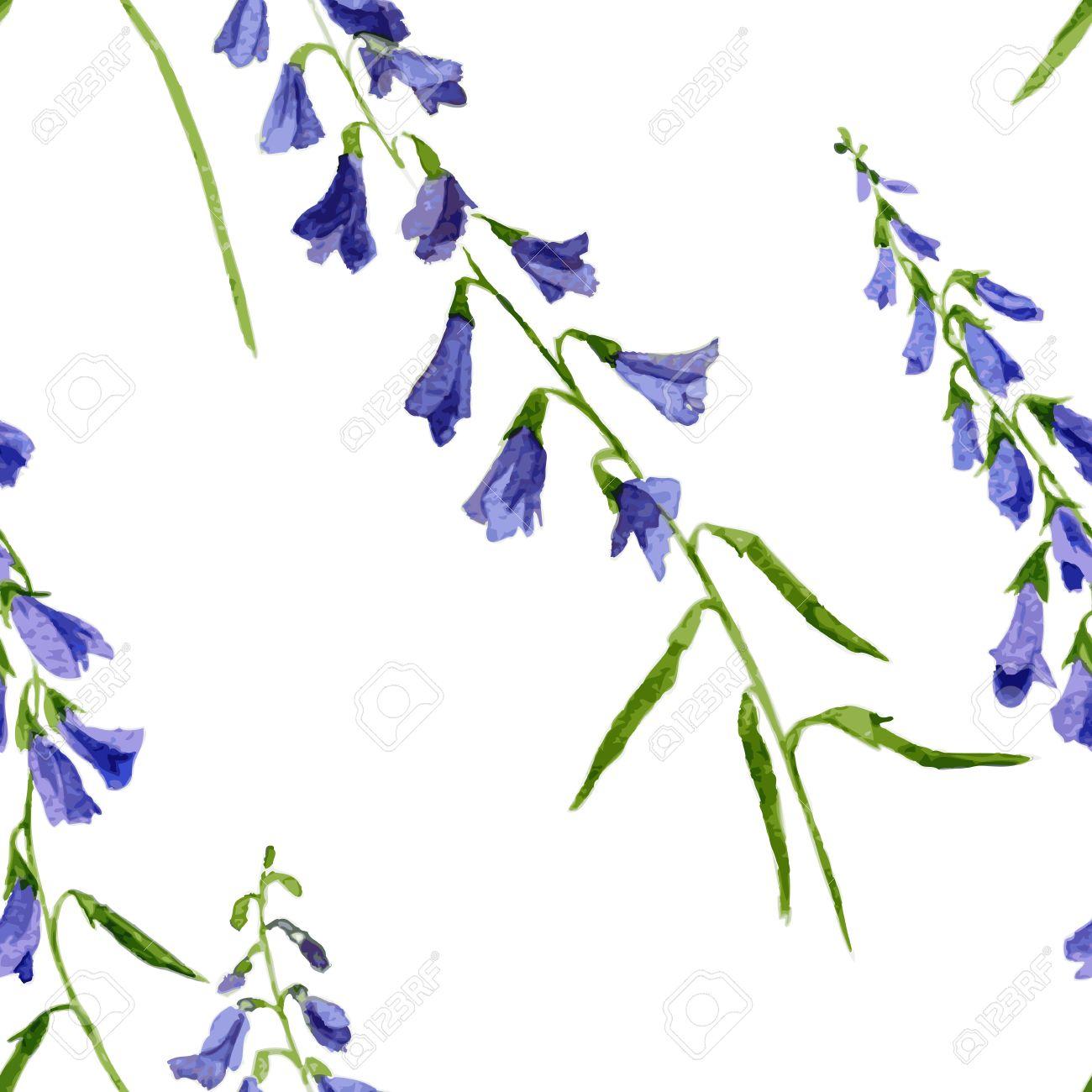 Vector Sin Patron Con Acuarela Flores Azules Dibujado A Mano De