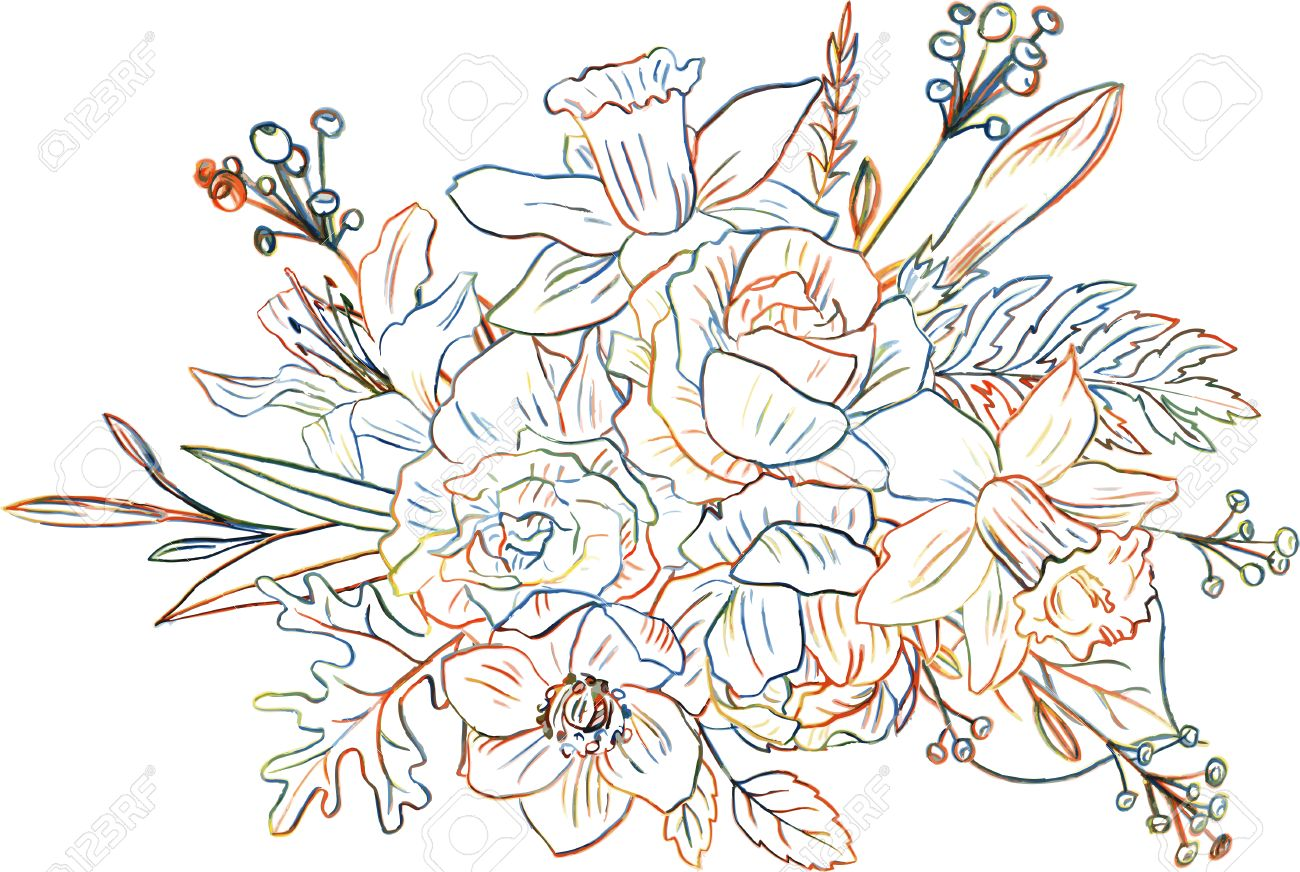 http://previews.123rf.com/images/catarchangel/catarchangel1507/catarchangel150700019/42119380-line-drawing-floral-composition-bouqet-with-colorful-doodle-flower-drawing-by-colored-pencils-with-r-Stock-Vector.jpg