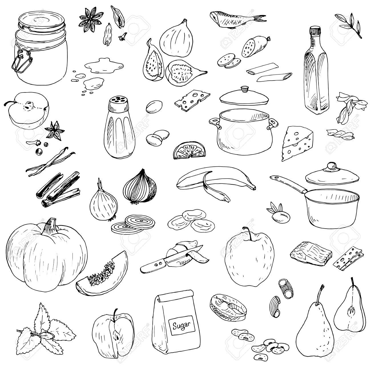 vector food set, ink drawing vector elements - 43227246