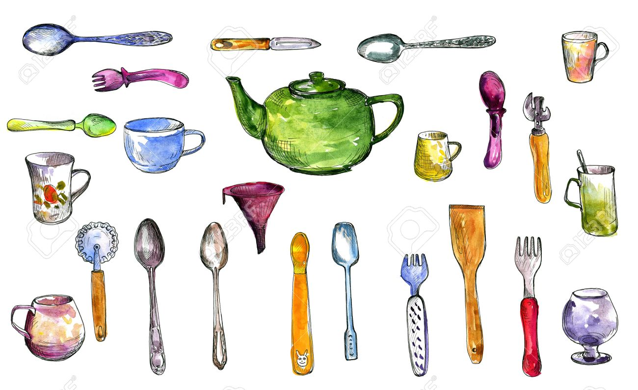 kitchen utensils drawing. Set Of Kitchen Utensils Drawing By Watercolor And Ink, Serving Collection, Hand Drawn Illustration K