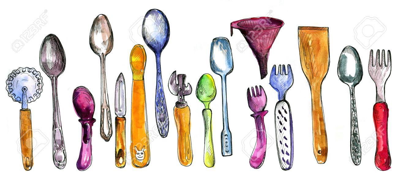 set di utensili da cucina disegno di acquerello e inchiostro ... - Arnesi Da Cucina