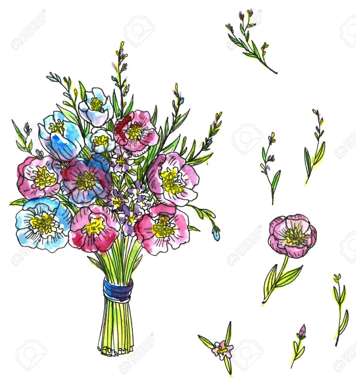Aquarelle Dessin Bouquet De Fleurs Tire Par La Main Peinture