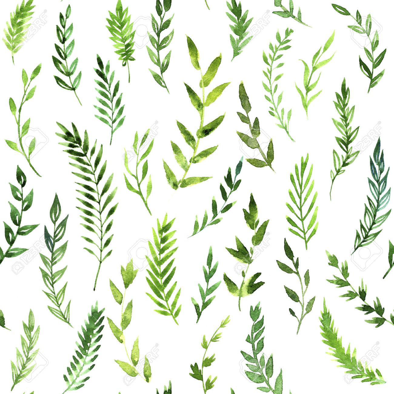 Seamless Pattern With Green Leaves Abstract Branches Drawing Stock Photo Picture And Royalty Free Image Image 43871987