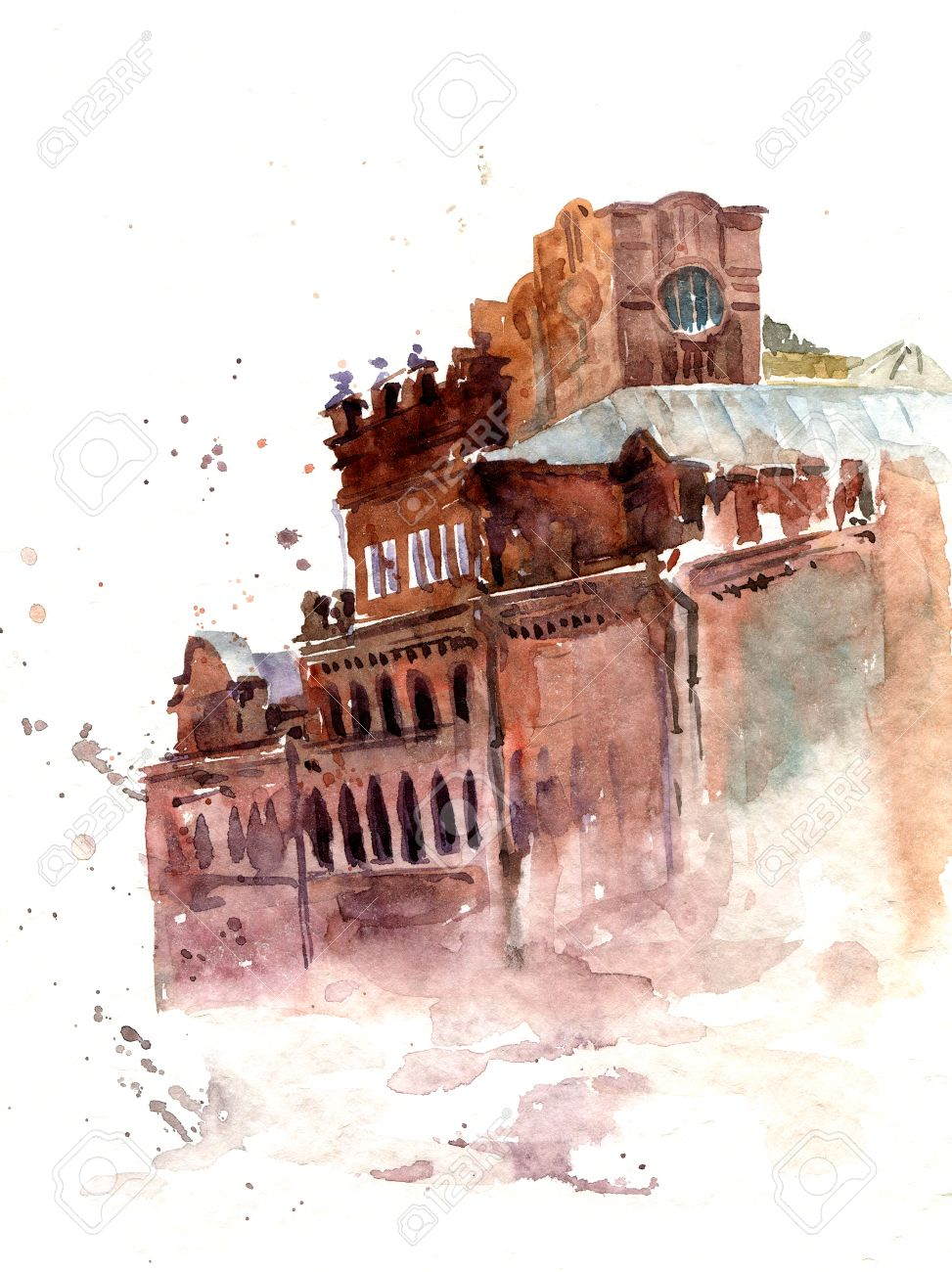 Urban Watercolor Sketch Old Red Brick City Buildings Color Hand Drawn Illustration Stock Photo