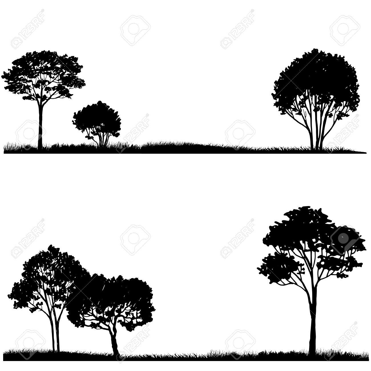 Silueta De árbol Y La Hierba, Plantilla Paisajes, Dibujado A Mano ...