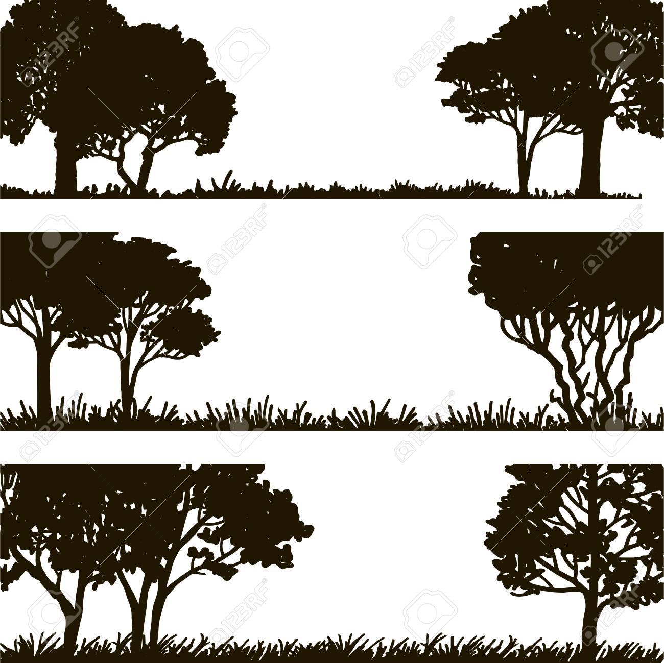 Paisajes Forestales, Silueta De Los árboles Y La Hierba, Plantilla ...