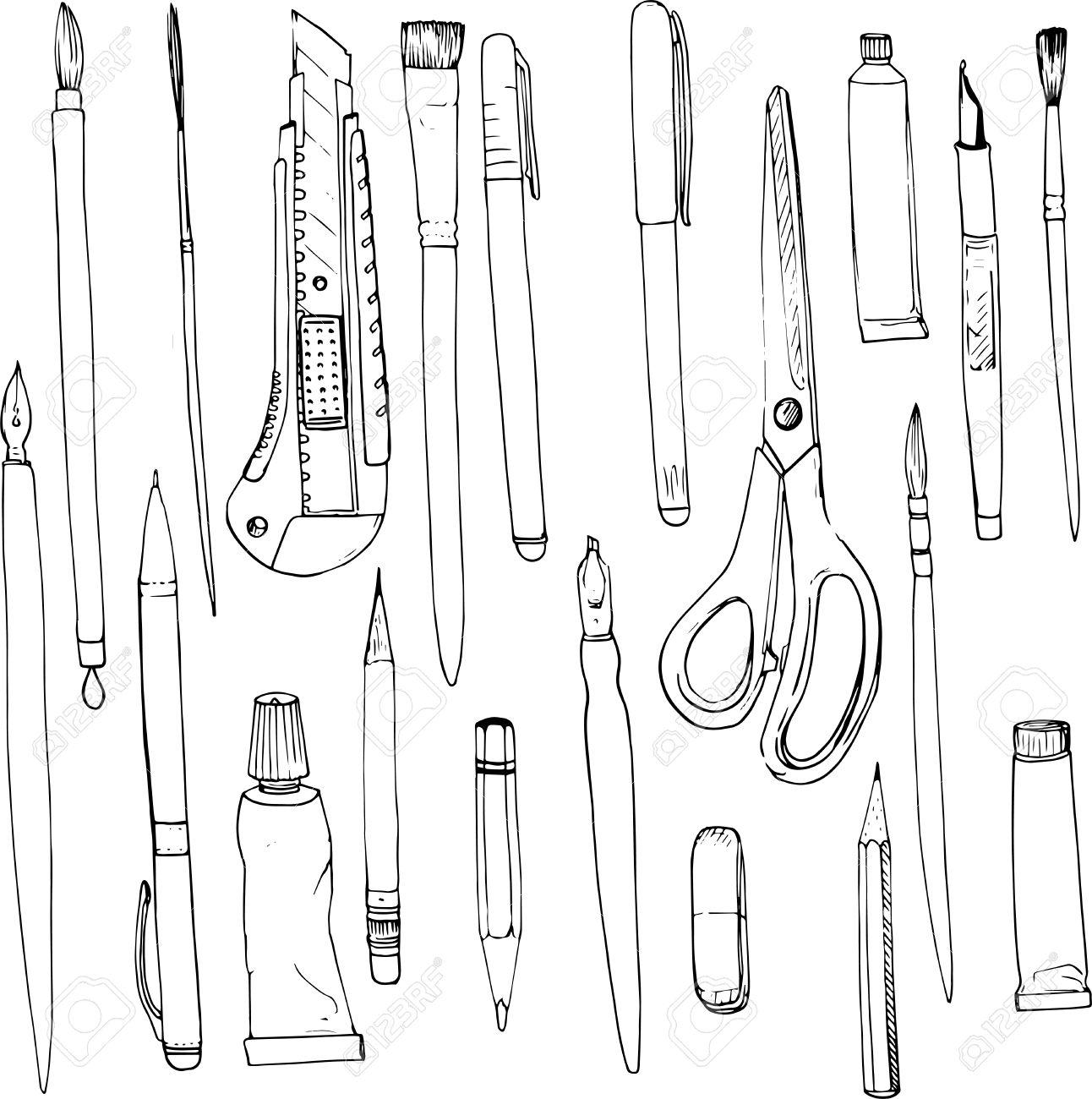文房具画材線画ペンや鉛筆塗料のブラシチューブ手描きの背景