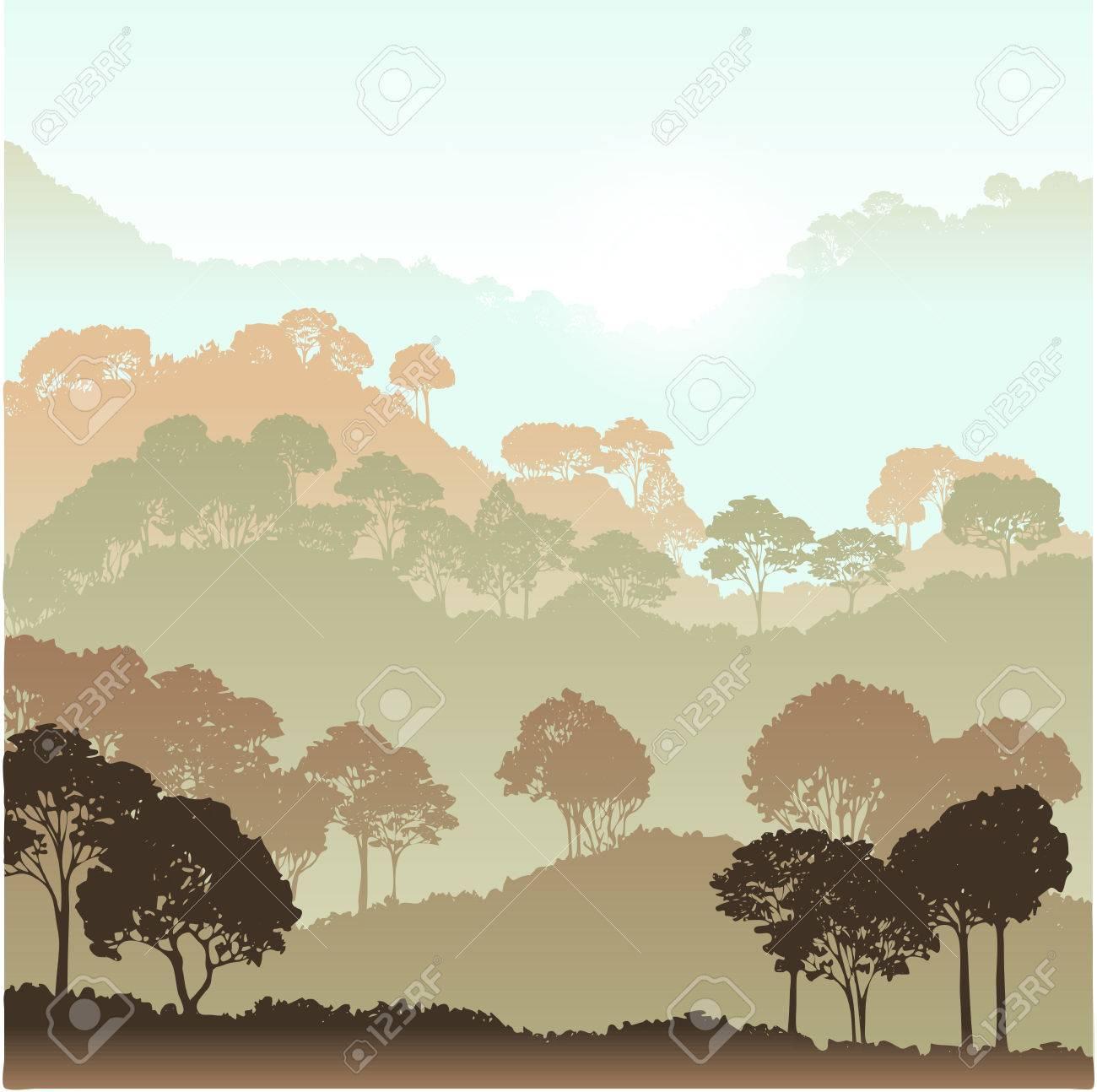 森の背景の木のある風景、手描きの背景イラスト ロイヤリティーフリー