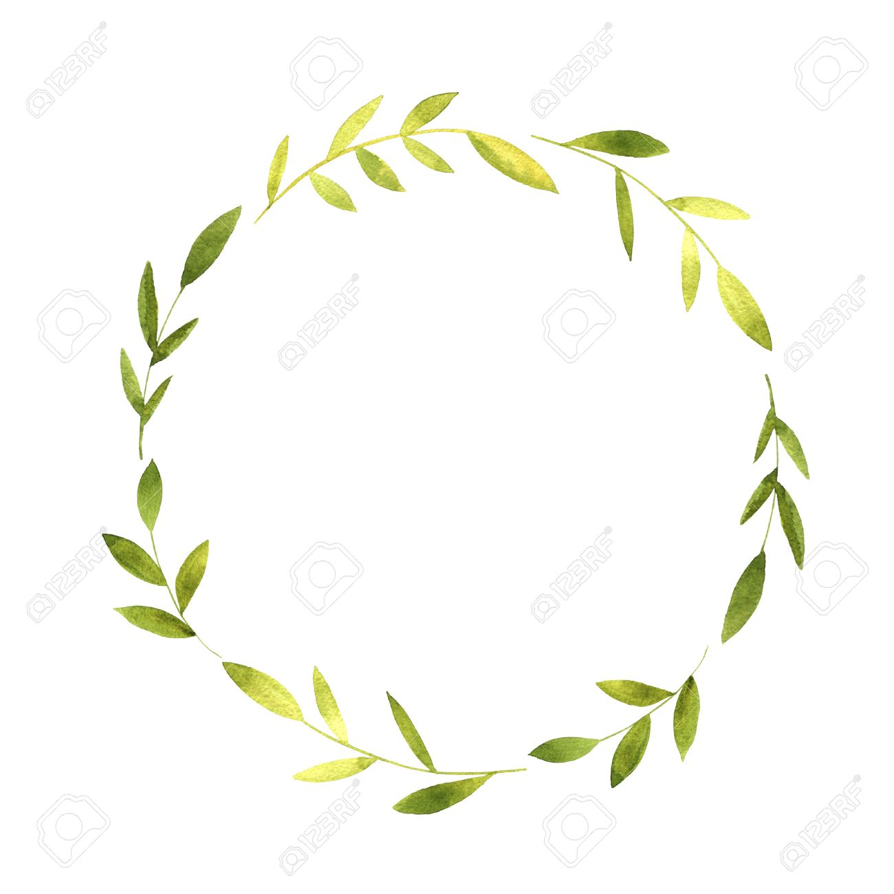 round wreath with watercolor green branches and leaves floral