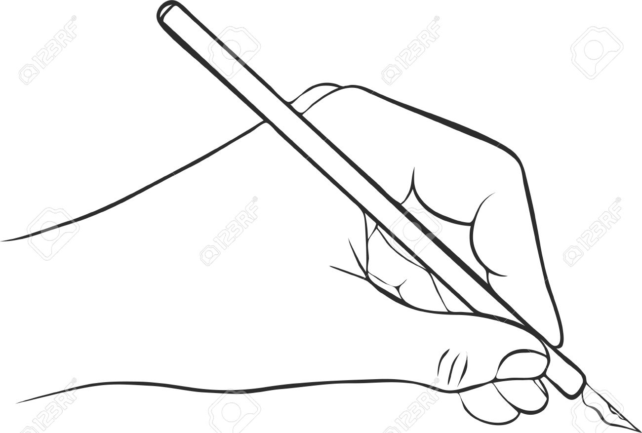 writing hand with ink pen drawing left hand hand drawn vector