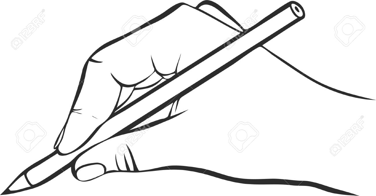 Vector writing hand with pencil drawing right hand hand drawn vector icon