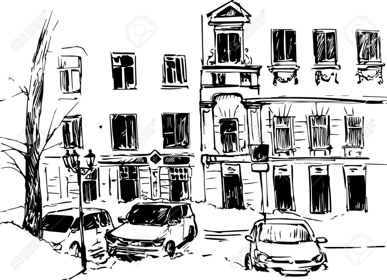 Stadt-Skizze, Stadt Straße Mit Gebäuden, Autos Und Bäume, Von Hand ...