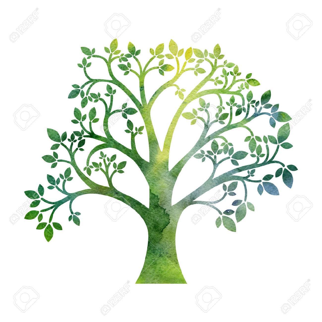 水彩画芸術的なイラストを手描きで描く葉の付いた緑のシルエット の