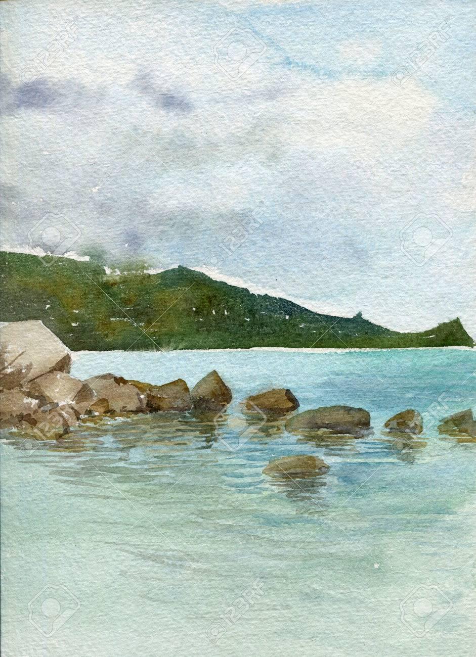 Rochers Au Bord De La Mer Avec La Reflexion Dans L Eau Calme Et Vert Foret A La Distance La Mer Paysage Dessin A L Aquarelle Peinture A La Main