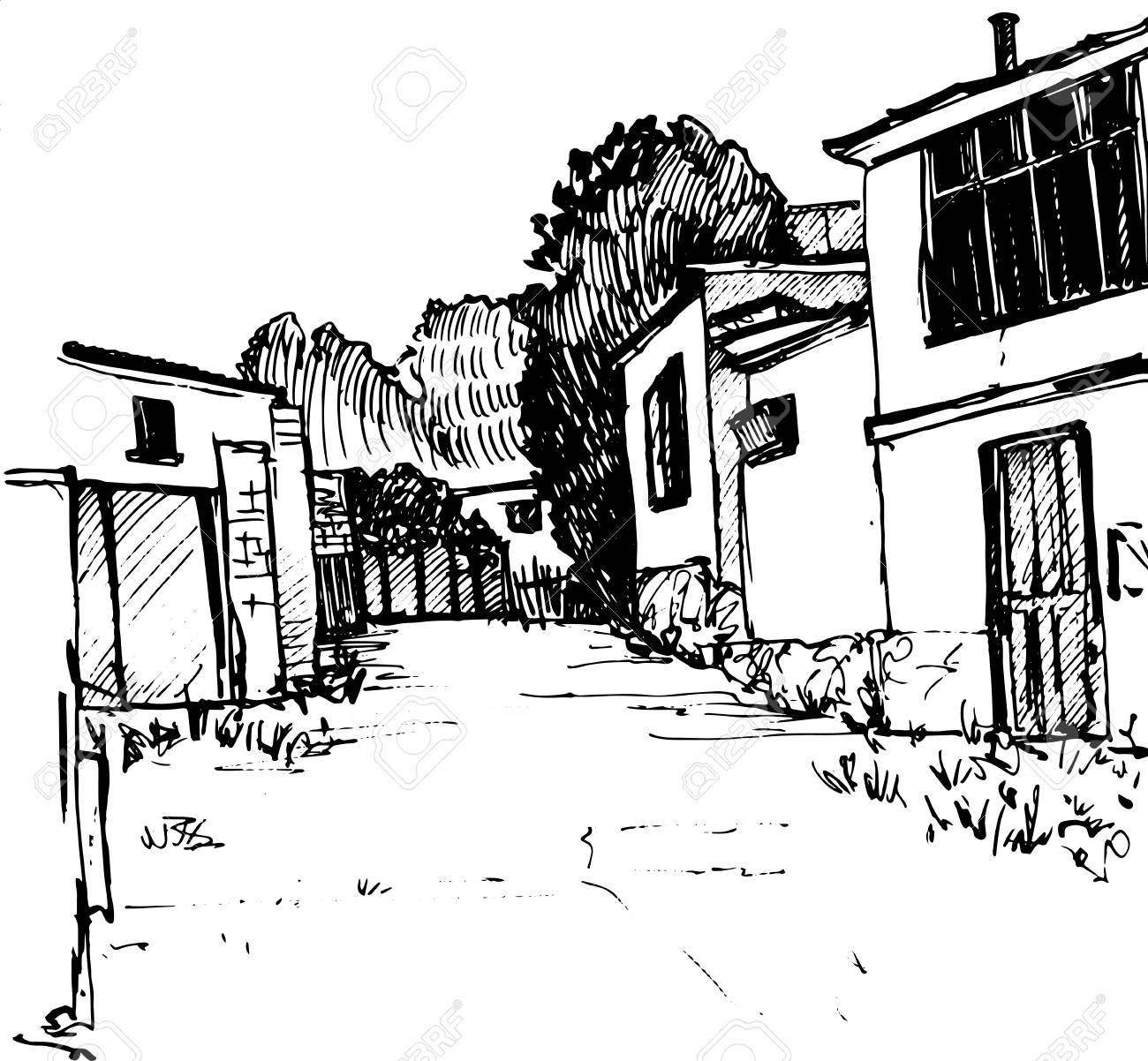 village street, urban sketch, road and buildings, hand drawn