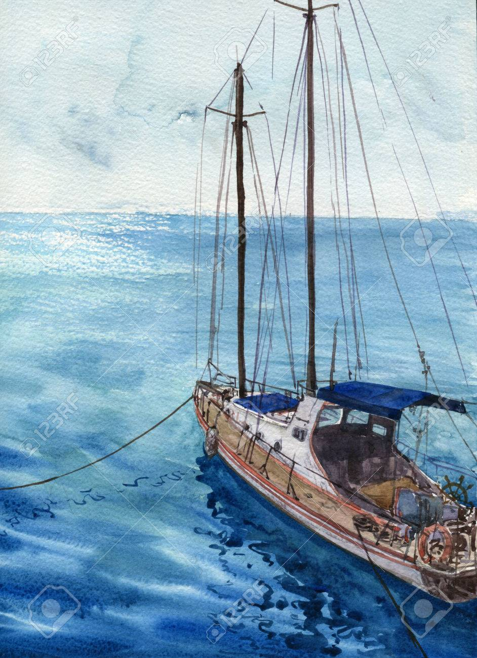 703a534bd watercolor sea landscape with boats, blue waves and reflection in water,  hand drawn illustration