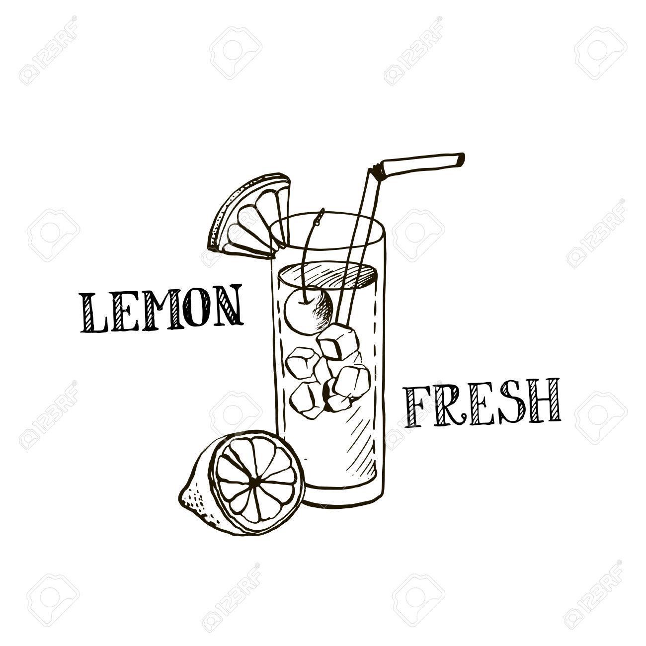 Lemonad Tirée Par La Main Dans Le Verre Citron Frais Jus De Fruits Des éléments De Dessin D Encre
