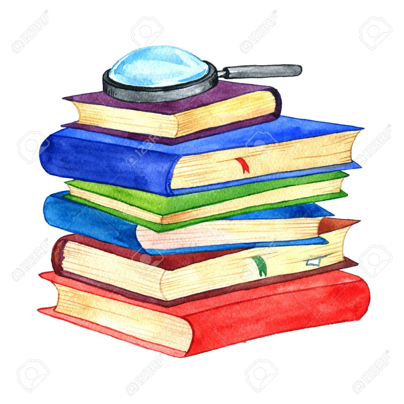 Watercolor Stack Of Books And Magnifying Glass Isolated At White ...