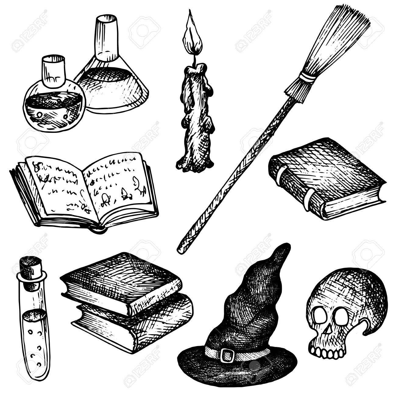 vector magic set, human skull and blakc hat, magician books and