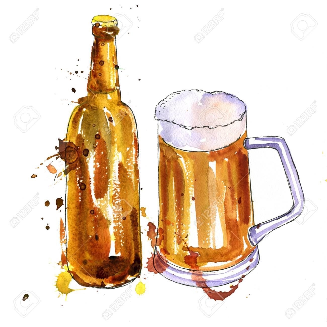 水彩の茶色のびんと一杯のビール...