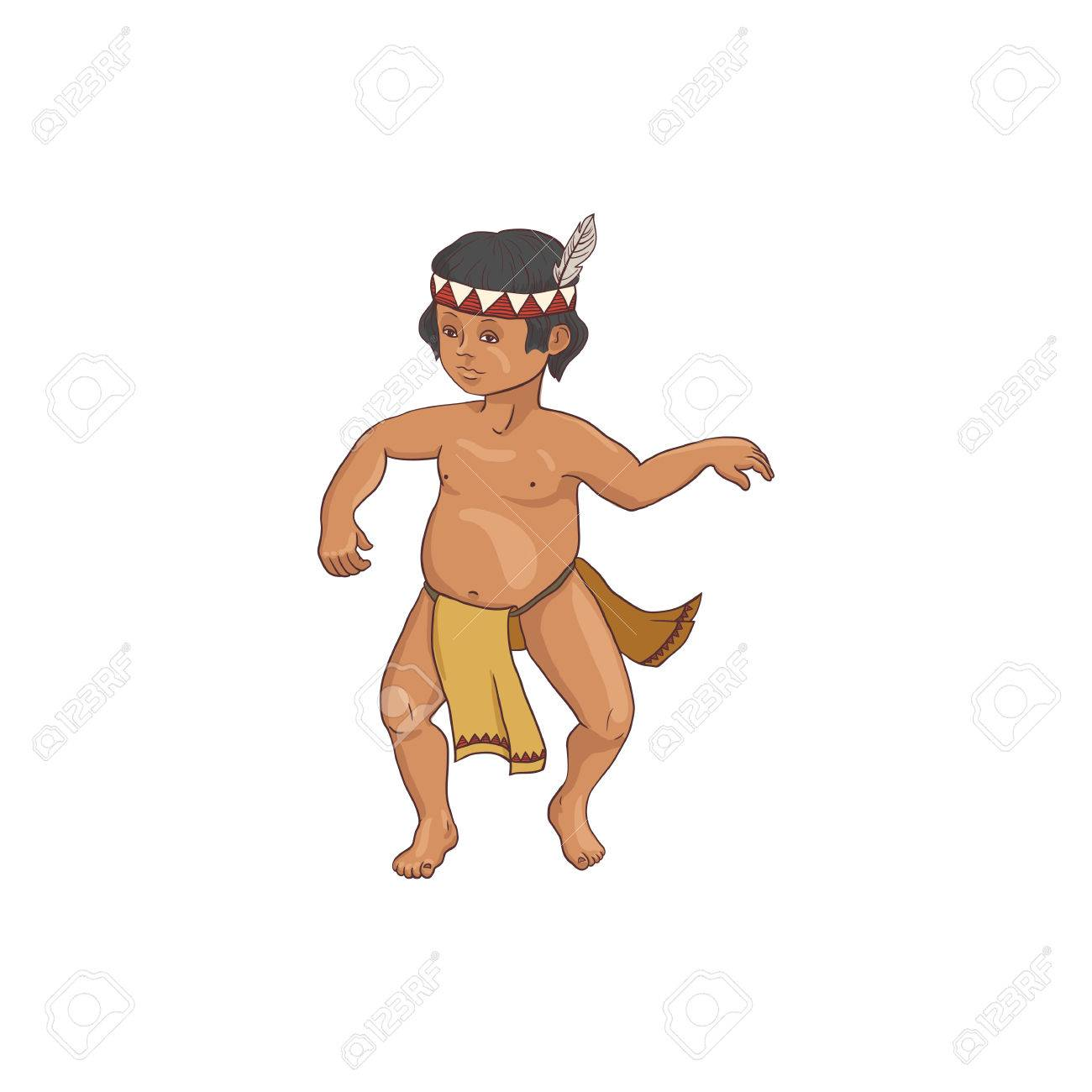 native american dancing indian boy in traditional costume hand drawn illustration Stock Vector -  sc 1 st  123RF.com & Native American Dancing Indian Boy In Traditional Costume Hand ...