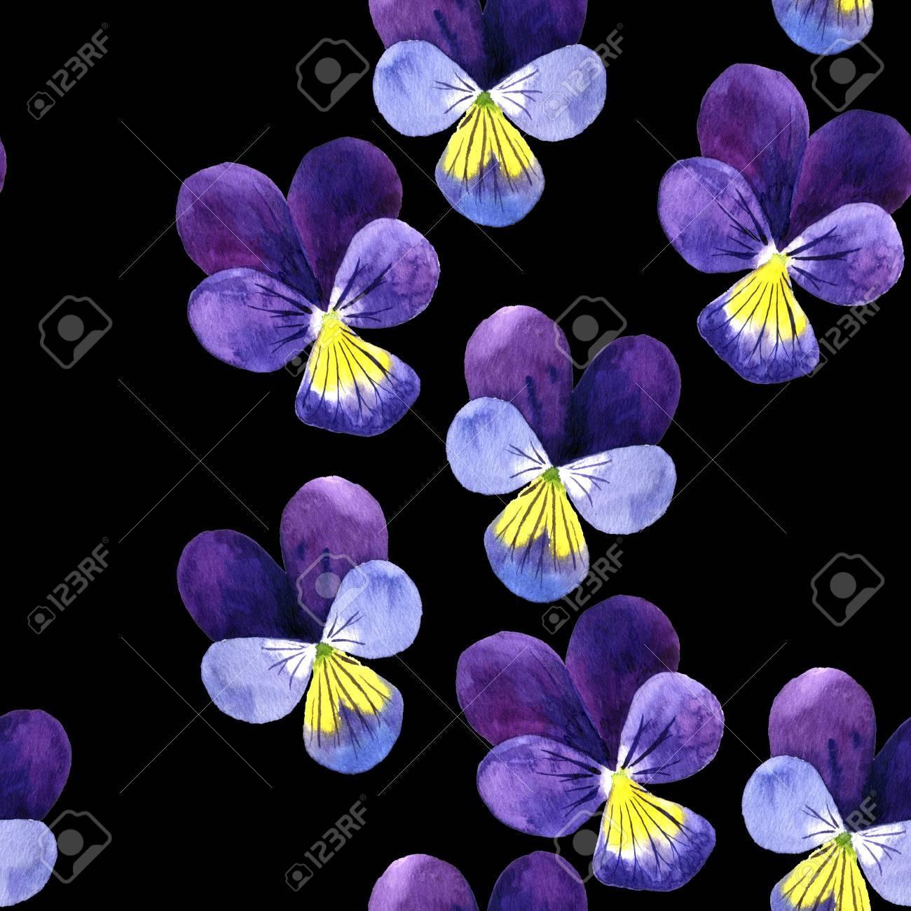 Modele Sans Couture Avec Aquarelle Dessin Fleurs Violettes En Toile