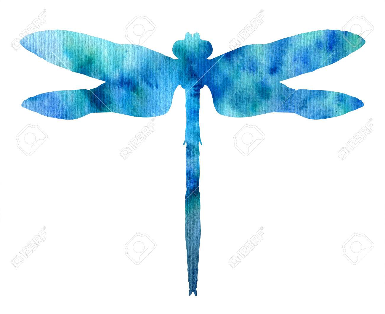 color watercolor silhouette of blue dragonfly isolated insects