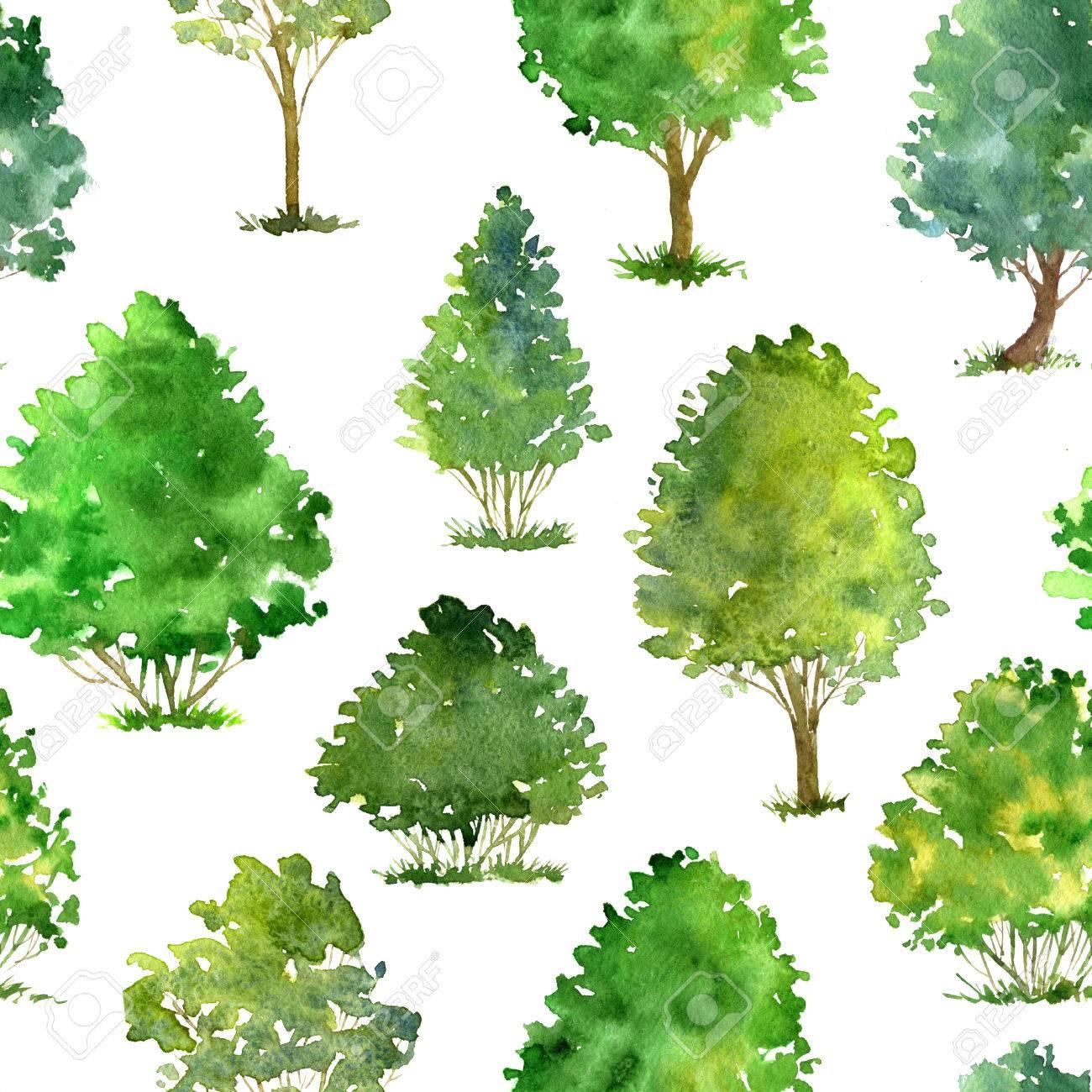 Sin Patrón Con árboles De Dibujo De La Acuarela Y La Hierba
