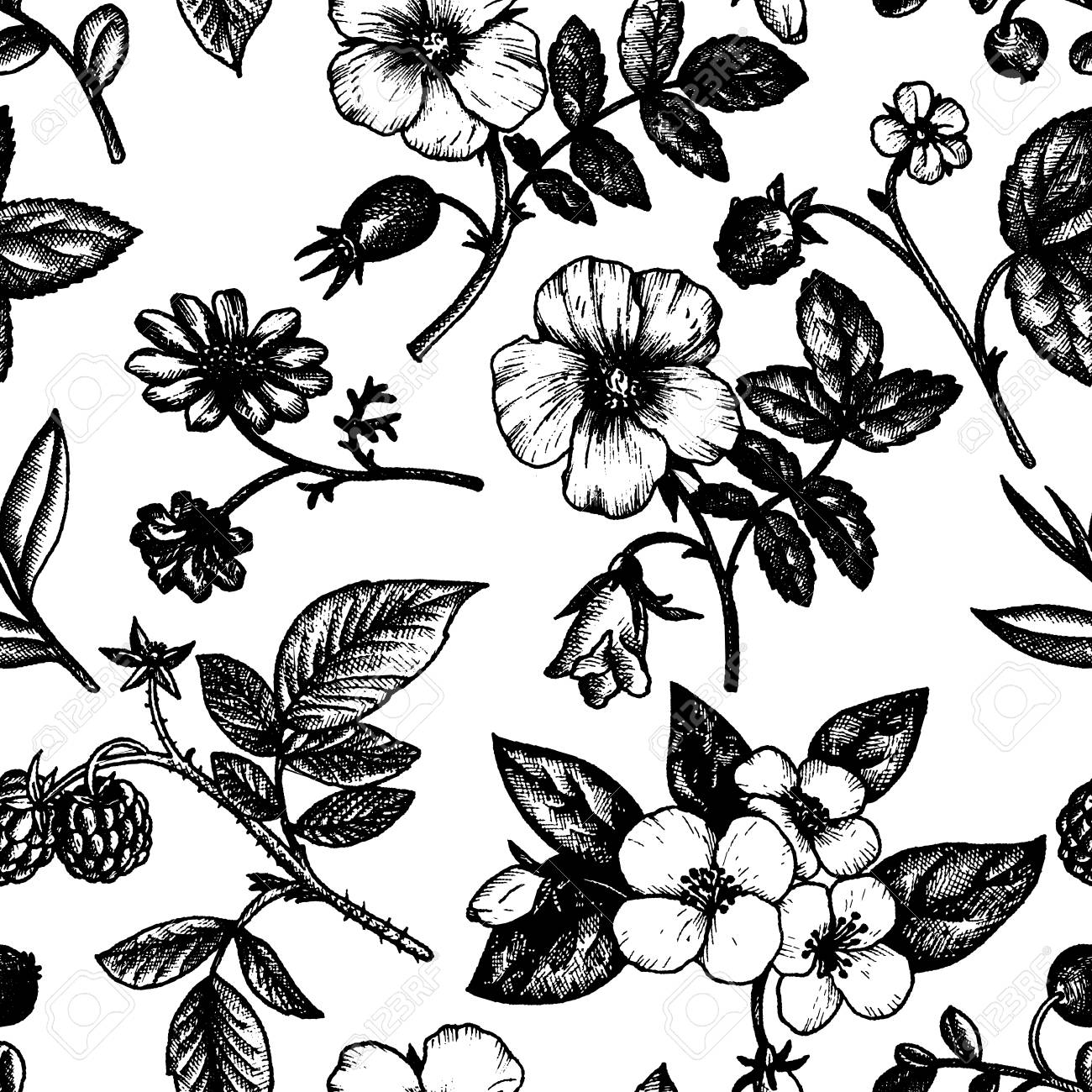 vintage vector floral seamless pattern in victorian style with