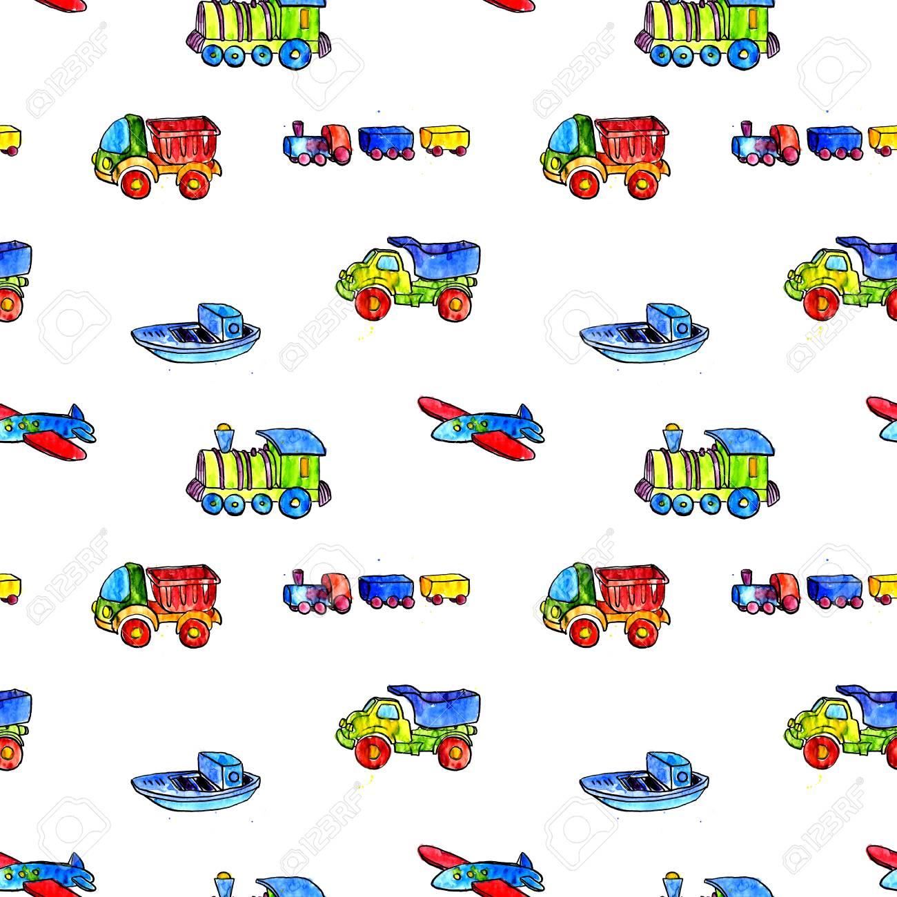 La Acuarela LocomotorasIlustración Juguetes Dibujo Dibujados BebéCochesAviones Y A De Sin Fondo Con Los ManoTransporte Patrón nwkOP0