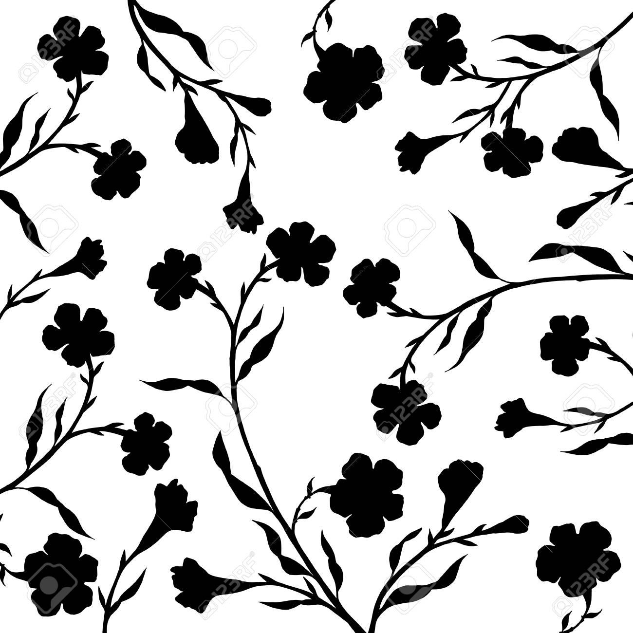 Ramas De Los árboles Con Hojas Y Flores Flores Negras Fondo Con