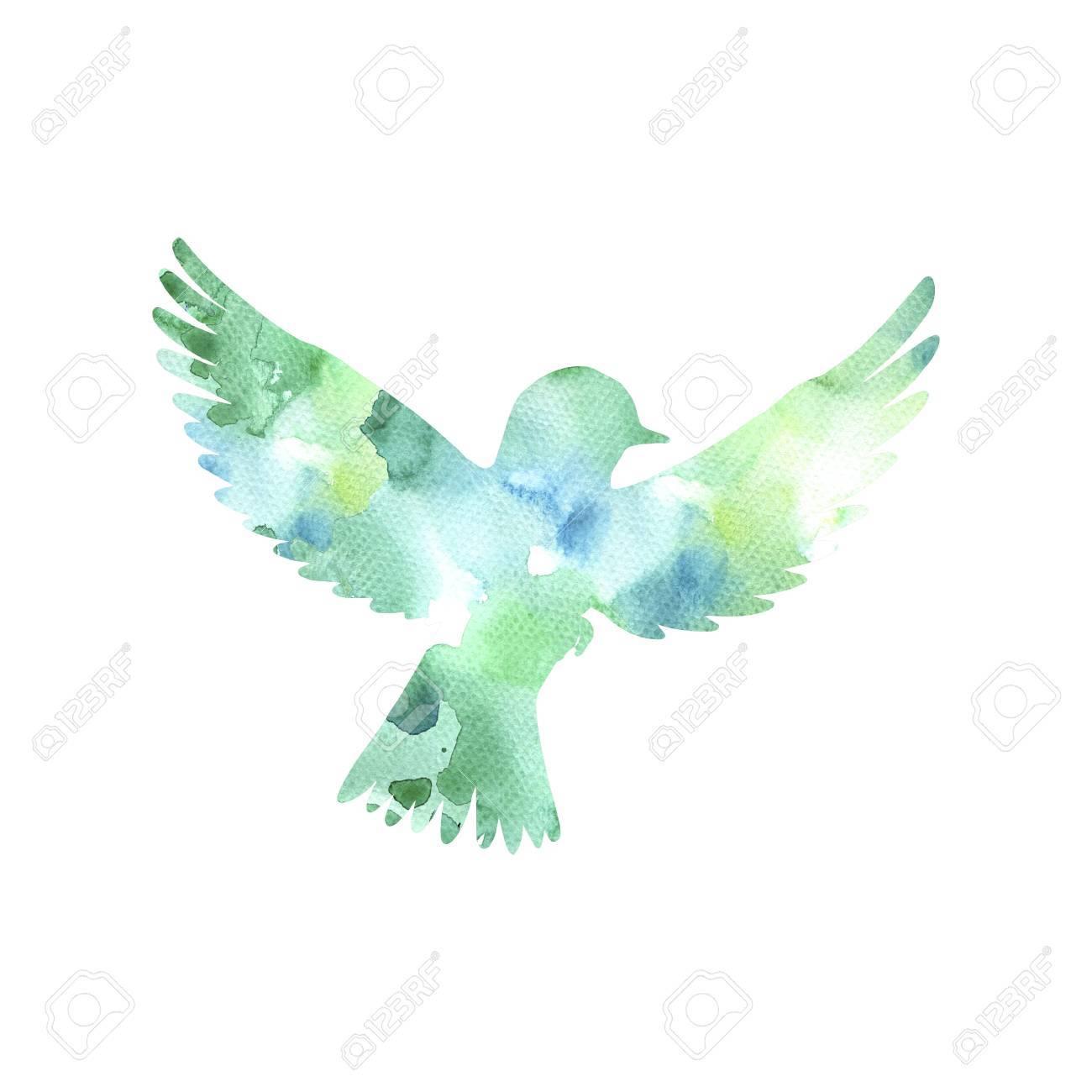 水彩の空飛ぶ鳥シルエット