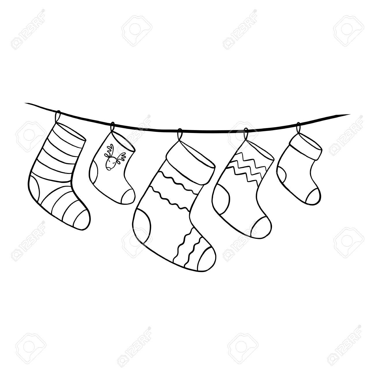 Christmas Stocking Line Drawing.A Vector Christmas Socks Hand Drawn Vector Illustration