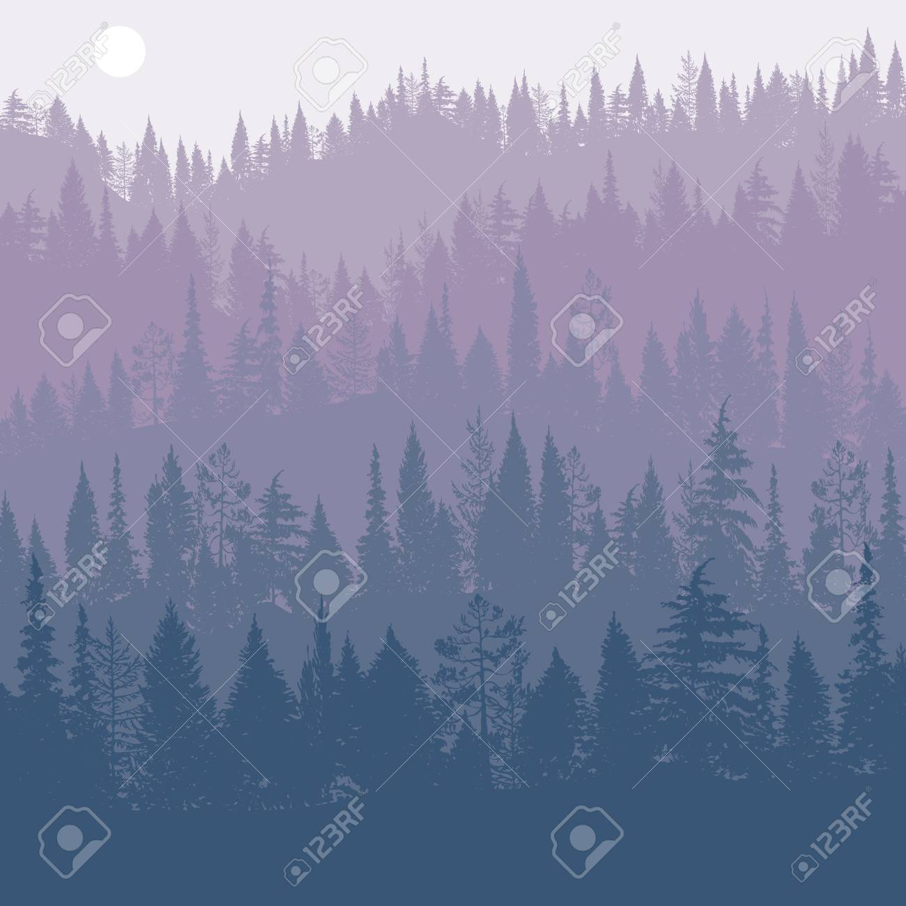 vector landscape with pine trees - 93007710