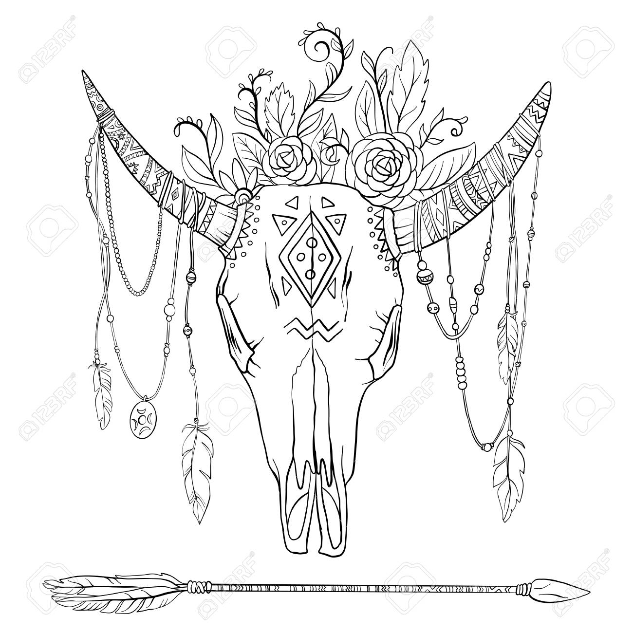 Dessin Crane Orne De Vache Clip Art Libres De Droits Vecteurs Et Illustration Image 99029608