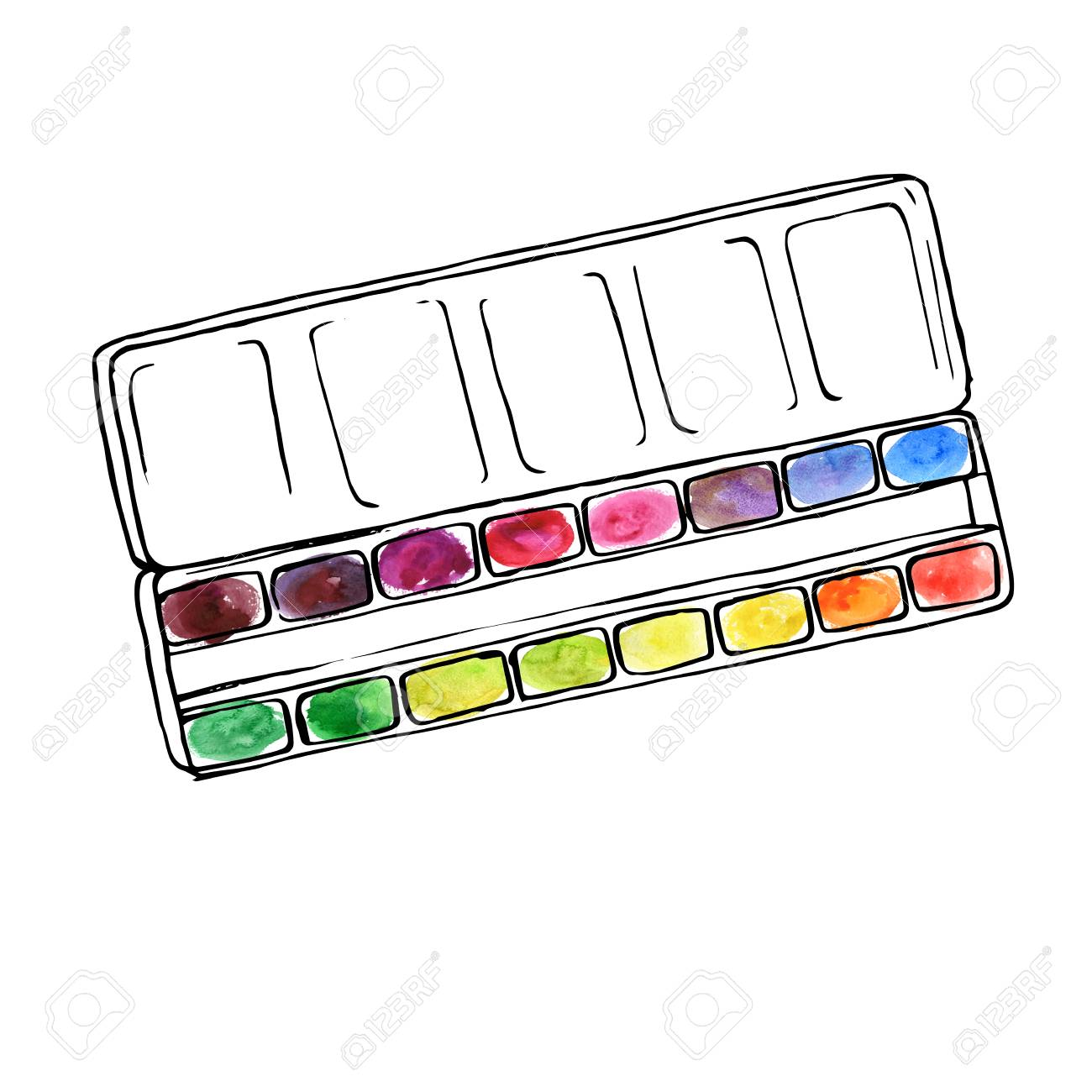 Vector Drawing Box With Watercolor Art Palette With Color Paints
