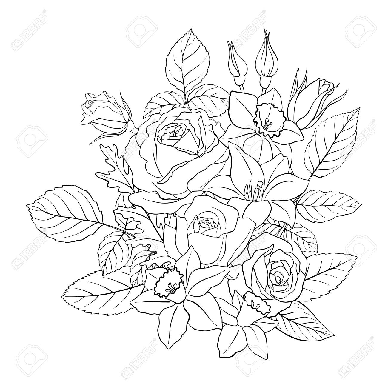 Line Drawing Vector Floral Composition With Flowers Buds And Royalty Free Cliparts Vectors And Stock Illustration Image 113996108