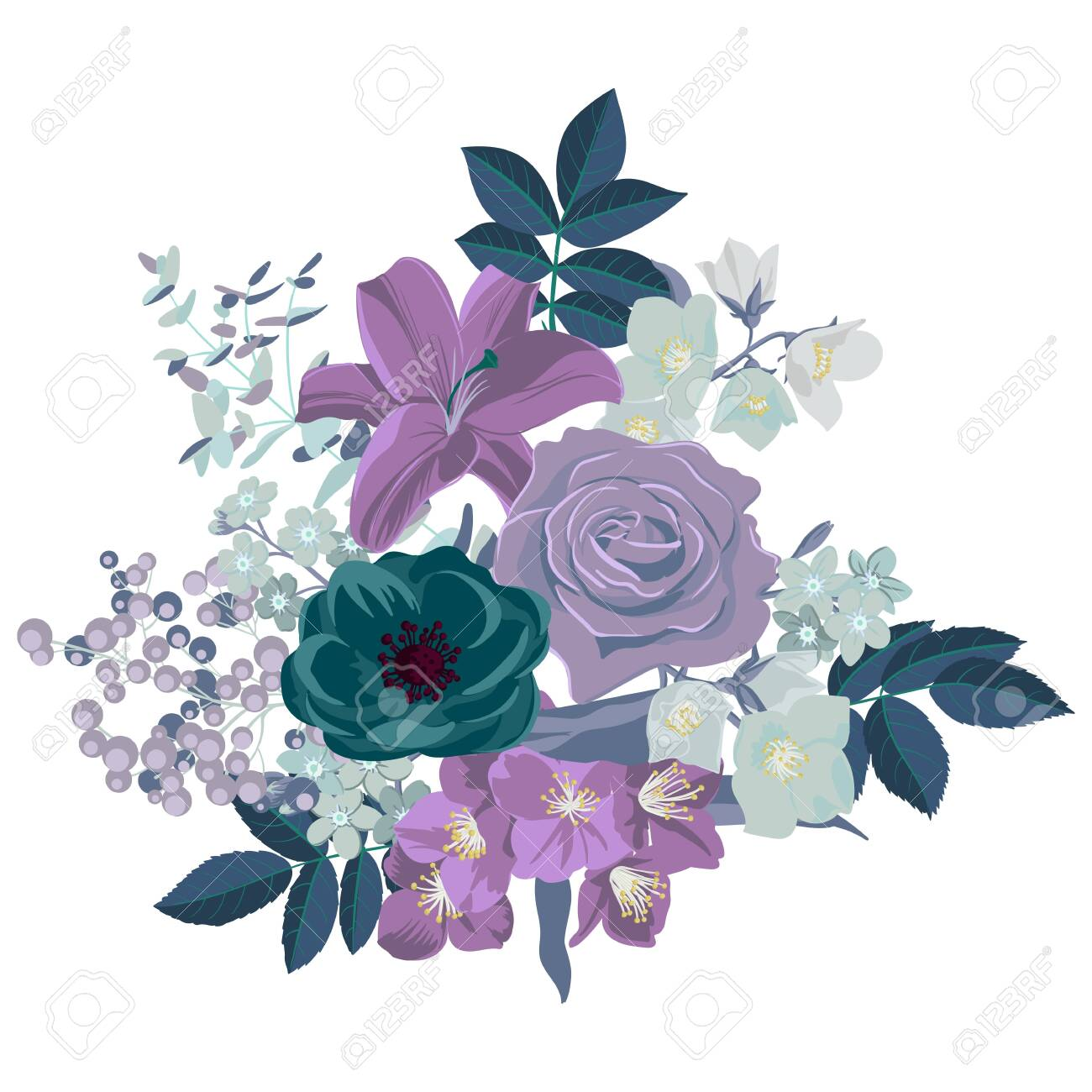 vector drawing flowers and leaves ,isolated floral design elements at white background, hand drawn illustration - 140557985