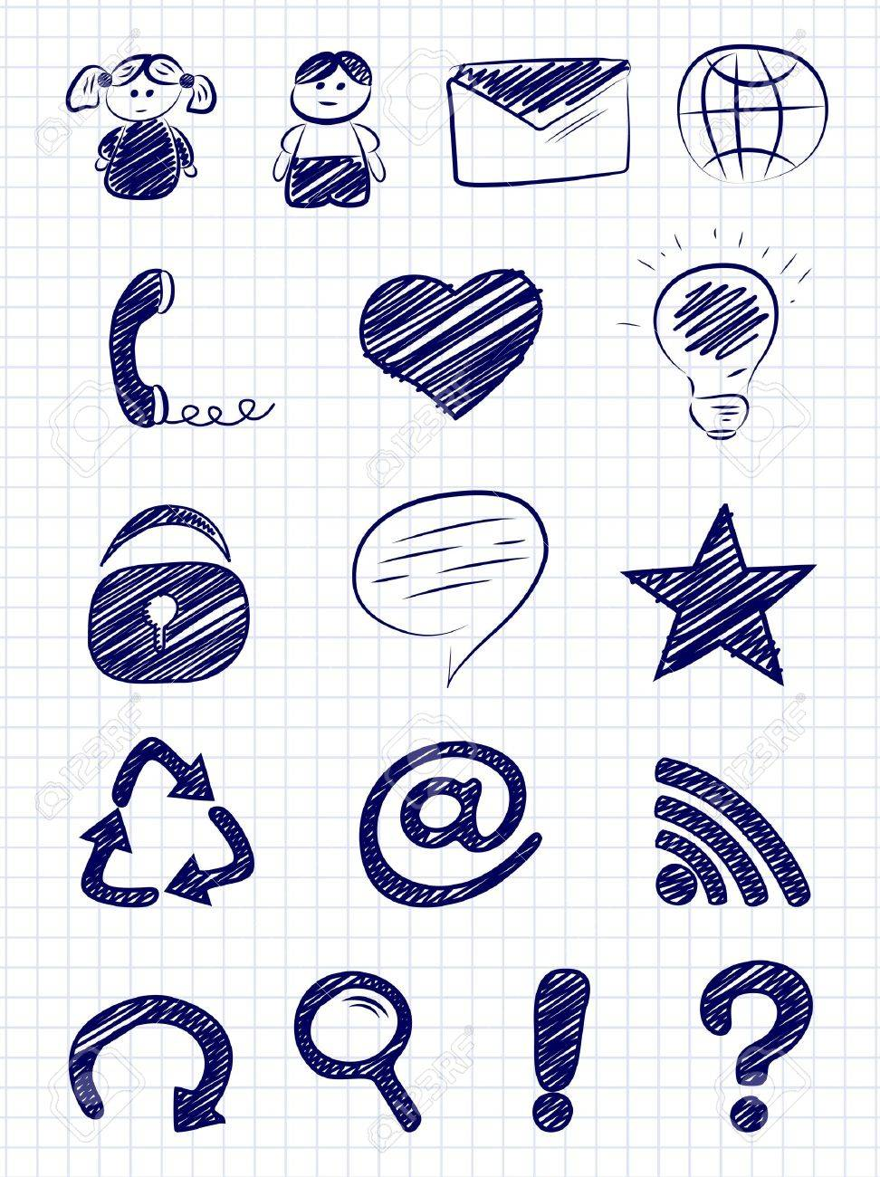 Hand drawn internet and web icons on a paper background - 13220064