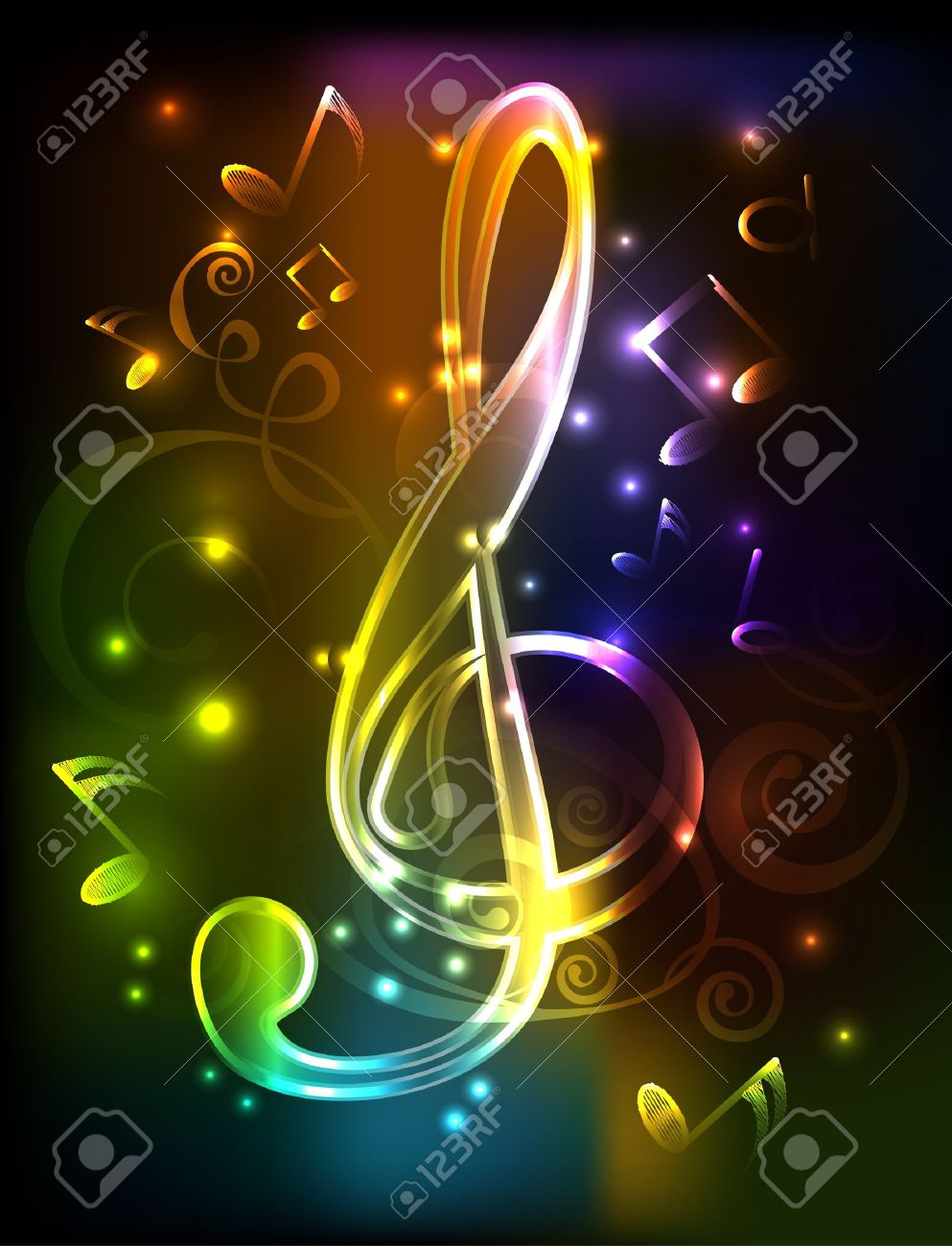 neon treble clef illustration whith note - 13338236