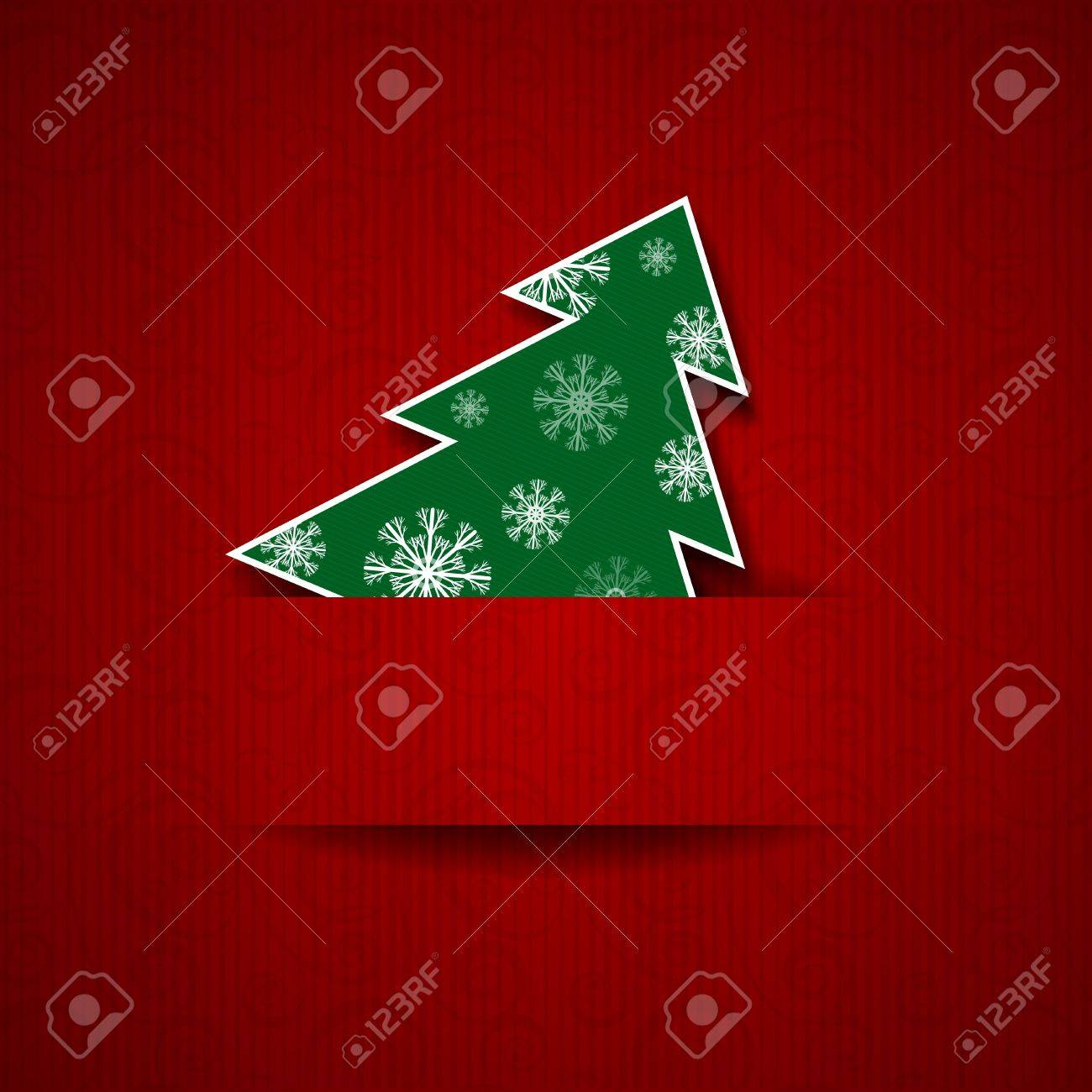 Vector illustration Paper red background with Christmas tree - 16061608