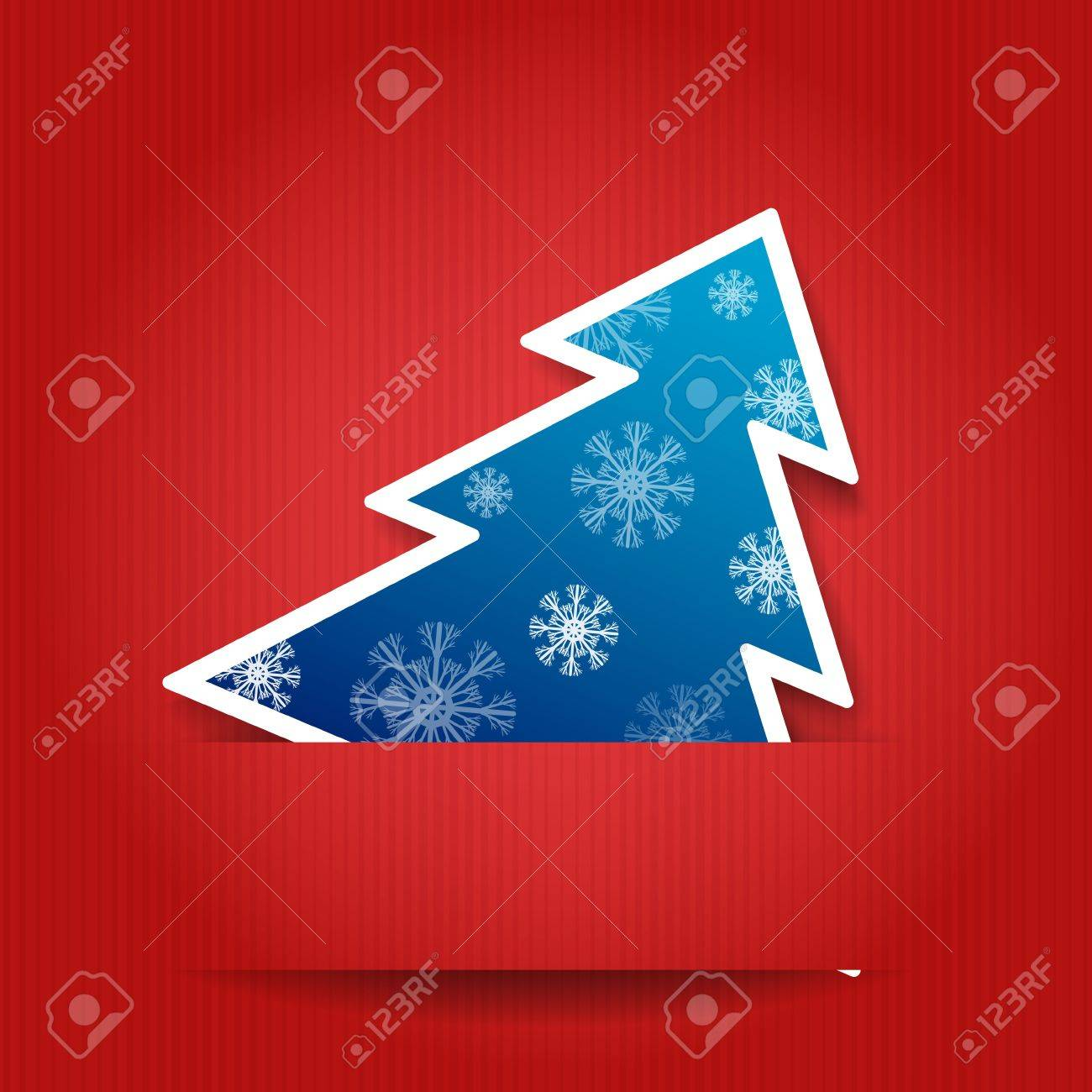 illustration Paper red background with Christmas tree - 16295013