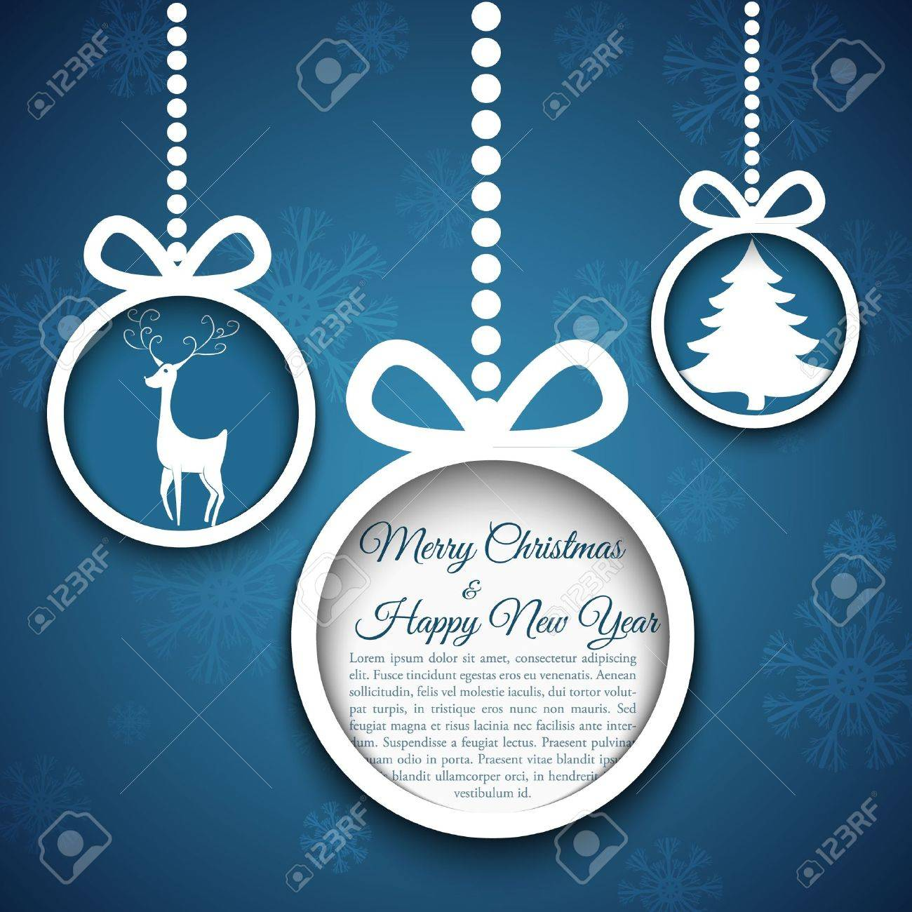 Christmas ball cutted from paper on blue background illustration for your design - 16878774