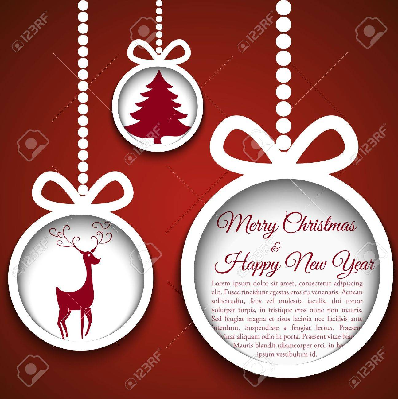 Christmas ball cutted from paper on blue background illustration for your design - 16878740