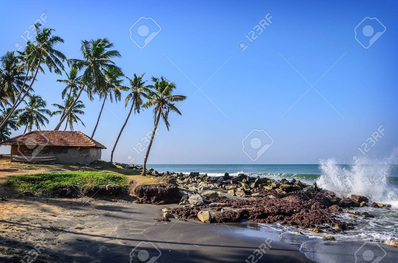 Tropical Indian village with coconut palm trees near the road and blue ocean in Varkala, Kerala, India - 38332171