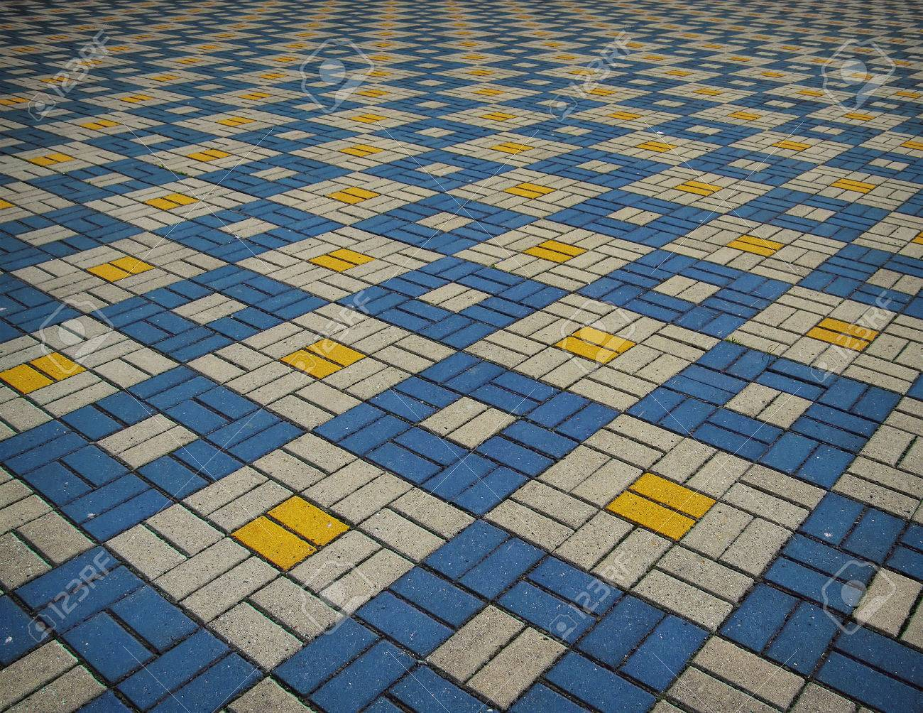 The Texture Of Perspective Colored Checkered Tile In The Street ...